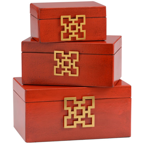 Red Leather Boxes (set of 3)