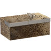 Alluring wood box finished in natural puffer fish skin with fun silver plated little dog topper. Decorative box has silver plated brass trim and luxurious black velvet lining inside