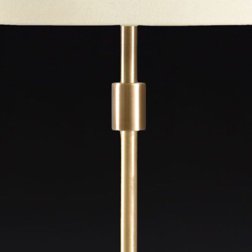 Cast Brass Table Lamp With Light Tan Silkette Shade
