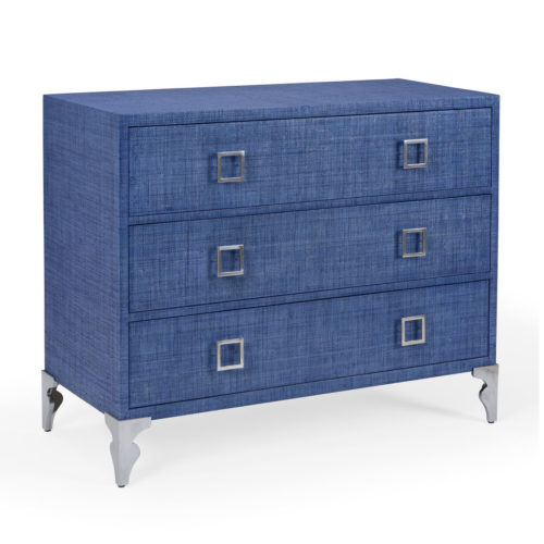 Woven raffia accent chest with three drawers. This wooden chest wrapped in blue woven raffia. The chest comes with brushed nickel legs and pulls. Woven raffia finish in rich blue is a perfect accent for a coastal contemporary loo