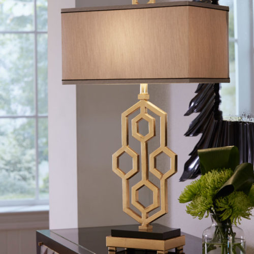 wrought iron table lamp with hand applied gold leaf finish; available at InvitingHome.com
