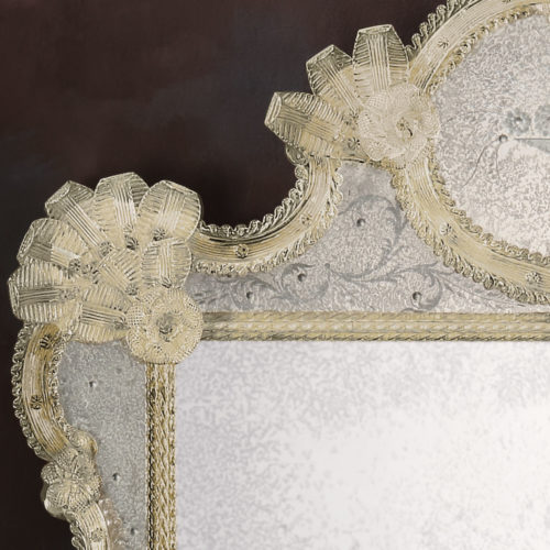 Large Antiqued Venetian Glass Mirror With Hand Etched Glass