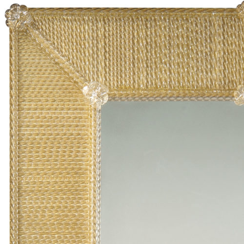 Rectangular Venetian Style Murano Glass Mirror In A Frame Made Of Clear And Gold Glass Ribbons With Lightly Antiqued Center Glass.