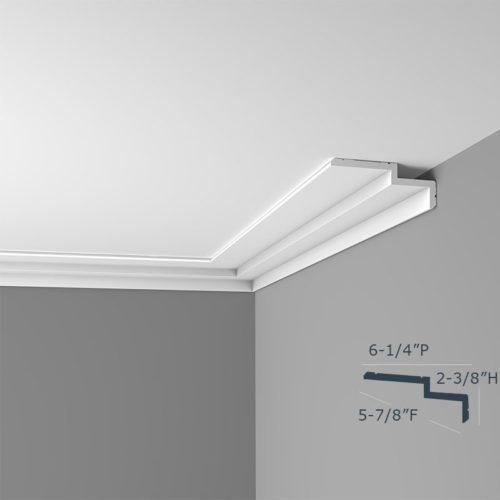 Modern flat crown molding moulding; crown molding has an asymmetrical profile with an extended top surface projection across the ceiling