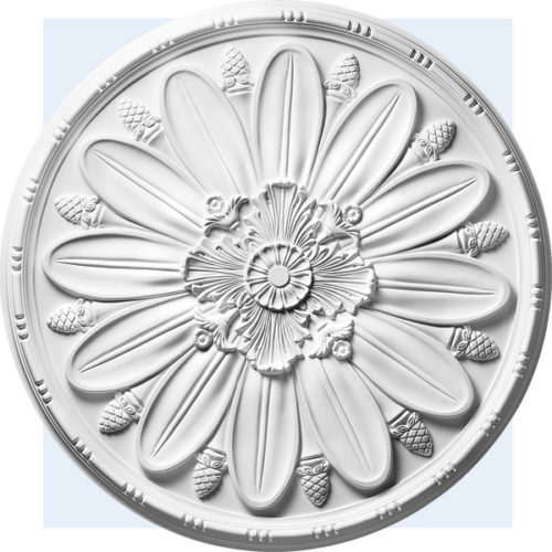 Bainbridge ceiling medallion has an acanthus leaf motif center and petals design with bead-and-barrel trim.