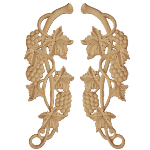 Artesia wood carvings are hand crafted from premium selected white hardwood. Wood carving features carved in deep relief elegant grape vines with grape clusters