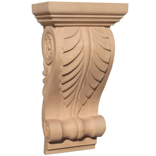Lexington wood corbels are carved in a deep relief with classic acanthus leaf design. On the sides corbel has a graceful scrolls with rosette centers and leaf design