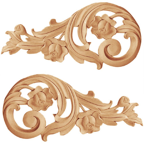 Our appliques and onlays are the perfect accent pieces to cabinetry, furniture, fireplace mantels, ceilings, and more. Each pattern is carefully crafted after traditional and historical designs