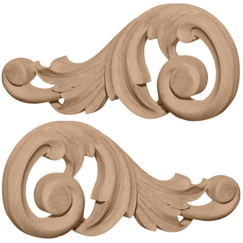 wood onlays and hardwood carvings with scrolled leaf design