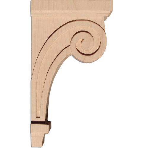 Raleigh wood corbels are carved in a deep relief in Craftsman style. On the sides corbels have a craftsman scroll design