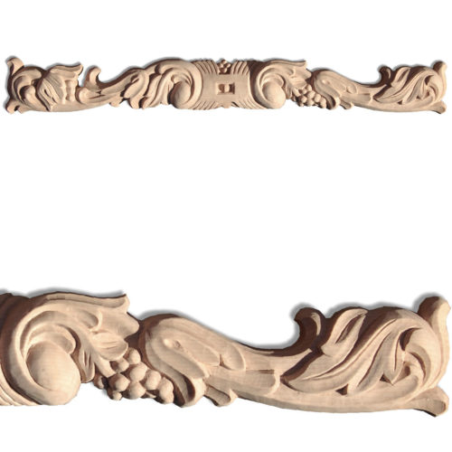 Milton center wood carvings are hand crafted from premium selected hardwoods. Wood carvings feature carved in deep relief scrolled leaf design with grape clusters motif