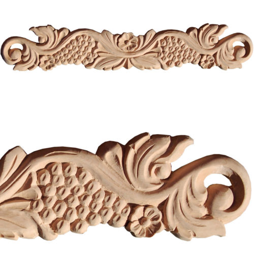Messina wood carvings crafted from premium selected hardwood. Wood carvings feature carved in deep relief grapevine motif with flowers a