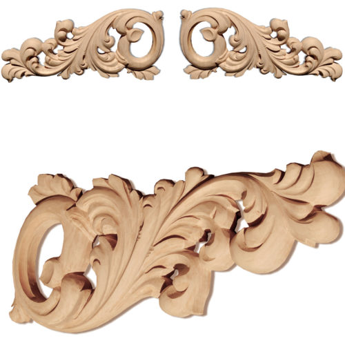 Marietta scroll wood onlays are hand carved from premium selected maple, white oak and cherry. Wood onlays feature carved in deep relief scrolled leaf design.