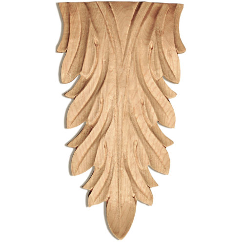 Escalon wood plaques are carved in a deep relief with leaf motif