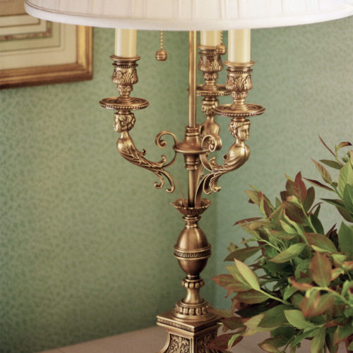 brass and gold lamps