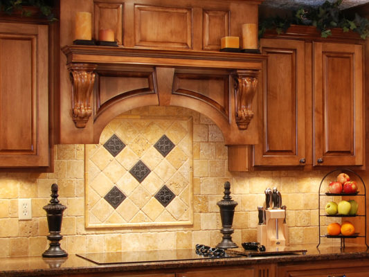 Traditional kitchen design with corbels