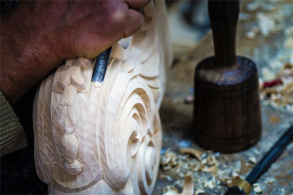hand-carved corbels