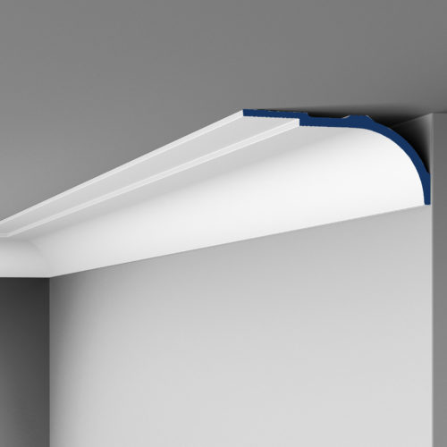 Art Deco style Miami crown molding. This unique Art Deco molding combines a broader step design with a sloping. Miami crown molding's design allows for two installation options