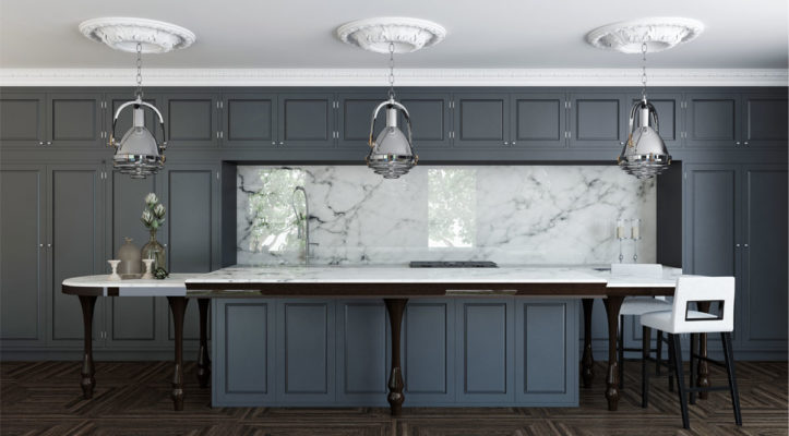 Elegant dark grey contemporary kitchen design with classic ceiling medallions, wooden island legs and lanterns with industrial flair; kitchen design ideas; contemporary kitchen inspiration
