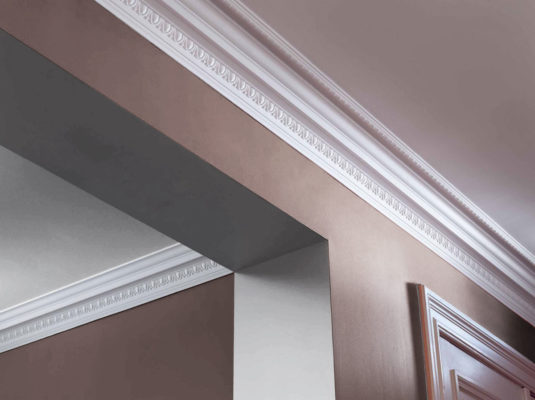 interior with large egg and dart crown molding; molding ideas, crown molding inspiration