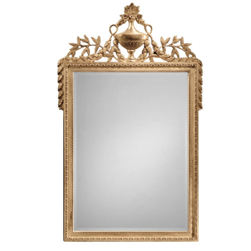 Empire style carved wood decorative mirror with urn and leaf motif. Mirror has a beveled glass and antiqued gold leaf finish. This mirror is hand-crafted in Italy