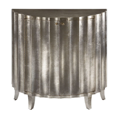 Hand-painted fluted cabinet with antique crackled silver finish. Hand crafted cabinet has two doors and one shelf inside