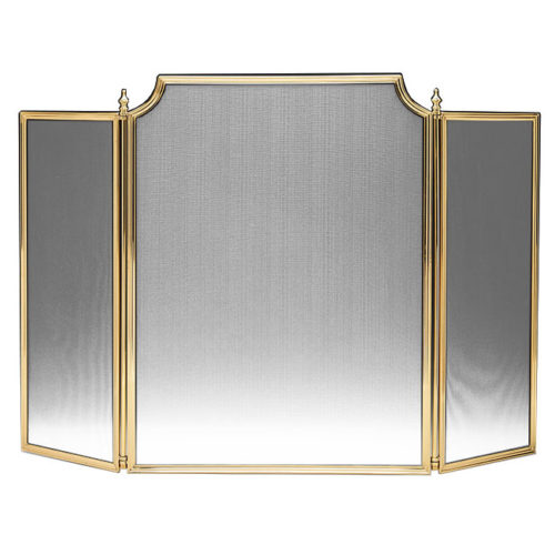 Lacquered cast brass fireplace screen with black mesh. This fireplace screen is hand-cast in Italy