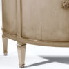 Demilune wood cabinet with lightly distressed lacquered taupe finish and antiqued silver trim. Hand-crafted cabinet has solid brass hardware in antiqued silver finish. This cabinet is hand-crafted in Italy