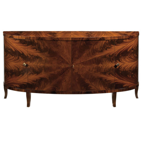Hand-crafted inlaid demilune credenza with mahogany veneer, four curved doors. This credenza has mahogany legs, three compartments each with one shelf inside and antiqued brass hardware. This inlaid credenza is hand-made in Italy