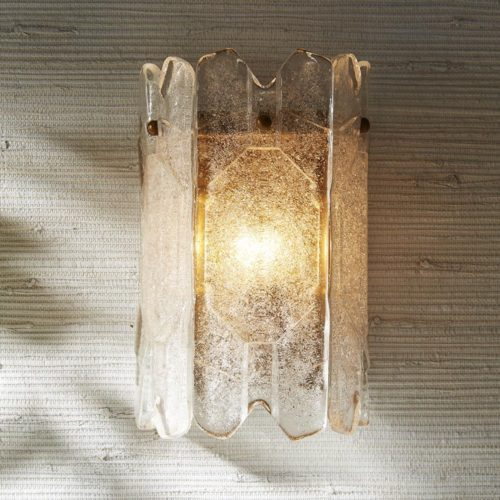 awesome and modern etched glass sconce. Sconce has seedy glass and one light, perfect for accent lighting or down a hallway.