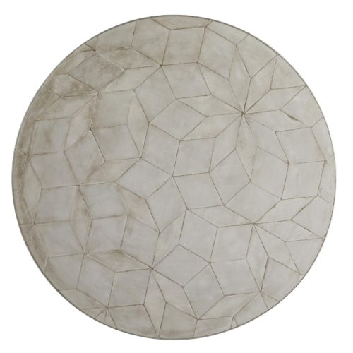 industrial meets modern with this cocktail table. This table is perfect for your living room, it has classy brushed nickel finished with an intriguing mosaic design from concrete.