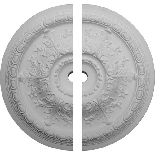 El-Monte ceiling medallion has classic acanthus leaf and egg-and-dart design. Ceiling medallion molded with deep relief design to achieve the highest degree of quality and details. This ceiling medallion is classic reproduction of historical design. El-Monte ceiling medallion come factory primed and is suitable for painting, glazing or faux finish.