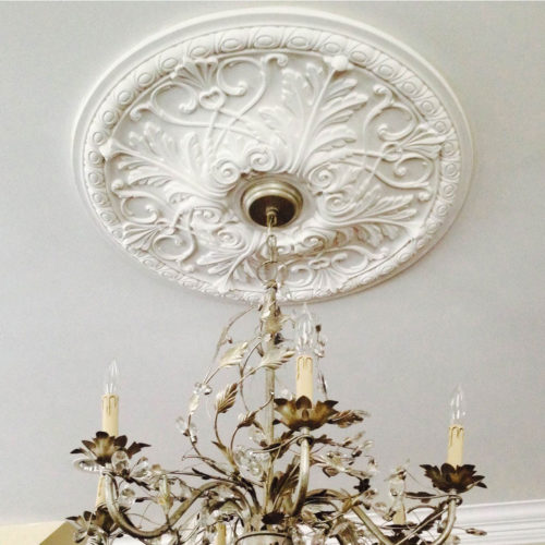 Acanthus leaf and scroll ceiling medallion has exquisite acanthus leaf and scroll motif. This decorative medallion for ceiling is classic reproduction of historical design. Davie medallion molded in deep relief design to achieve the highest degree of quality and details.