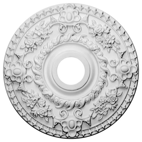 Rose ceiling medallion has a traditional design. This decorative medallion is a reproduction of the historical design.