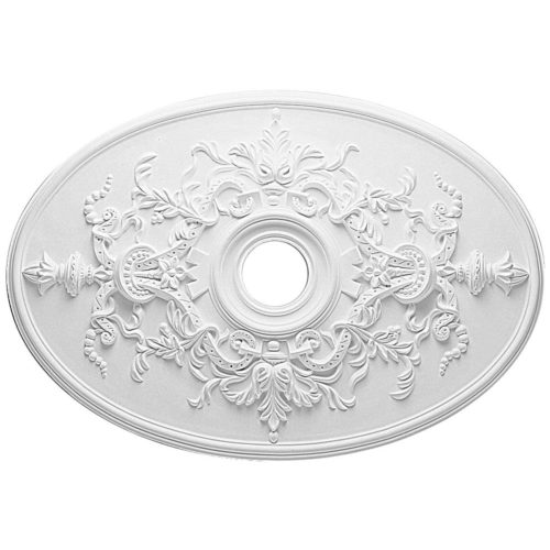 Royal Oval ceiling medallion is molded with deep relief design to achieve the highest degree of quality and details. This ceiling medallion is classic reproduction of historical design.