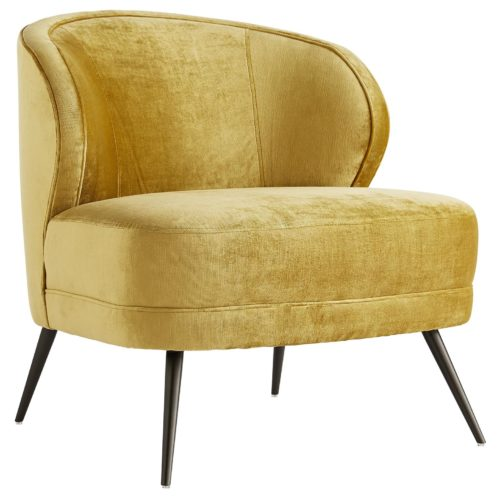 The curved back gives you ample support, while the sloping arms keep you curled up inside.Upholstered in a plush, marigold velvet with welting details to accentuate the curves. The base rests on tapered, light bronze finished metal legs that have a hint of glisten.
