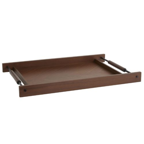 Elegant and generously sized tray for a kitchen island or living room ottoman. The diagonal wood veneer provides abeautiful surface combined with the dark steel and wood handles for an effect that is quiet, elegant and strong.