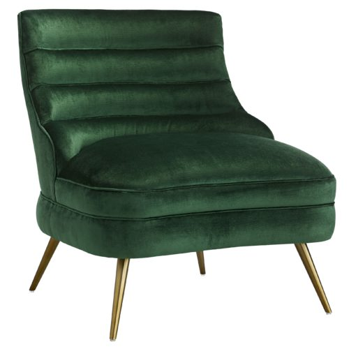 Designed for comfort in every way, the sleek channeled form, decadent emerald velvet and tapered antique brass legs are elegantly effortless.