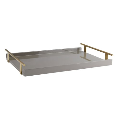 Form meets function to create this modern serving tray. A chateau gray lacquer finish is balanced by antique brass handles that offer a practical and polishedappeal—an optimal serving piece when hosting casual or formal functions.