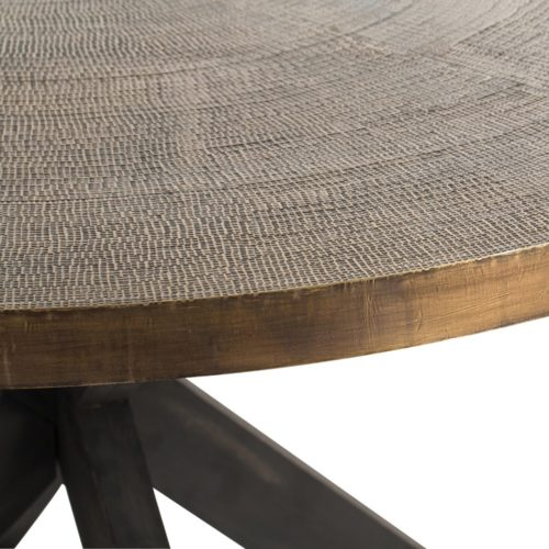 """This 60"""" dining table is made of solid wood. The crisscross base has been stained a deep espresso color, while the top is clad in antique brass and textured to resemble a luxurious textile.Perfect as a dining table for six or a striking entry piece."""